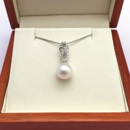 Large Pearl And Diamond Pendant Necklace 8.5-9mm On 9K White Gold