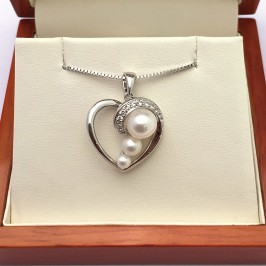 Pearl & Topaz Heart Shaped Pendant Necklace 3.5-7.5mm On Sterling Silver