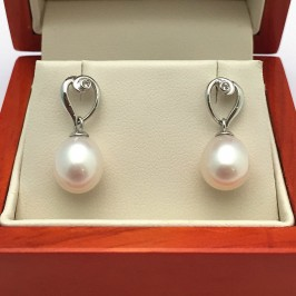 White Drop Pearl And Topaz Earrings 8-8.5mm On 9K White Gold