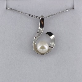White 6.5-7mm Button Pearl Pendant Necklace On Sterling Silver