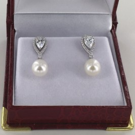 Large AAA 8.5-9mm Drop Pearl and Cubic Zirconia Earrings on Sterling Silver