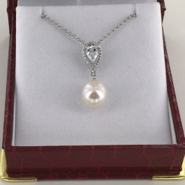 Large 10-10.5mm AAA Drop Pearl and Cubic Zirconia Pendant Necklace On Sterling Silver