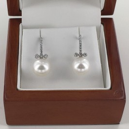 Large 9-9.5mm AAA Pearl Earrings With Cubic Zirconia On Sterling Silver