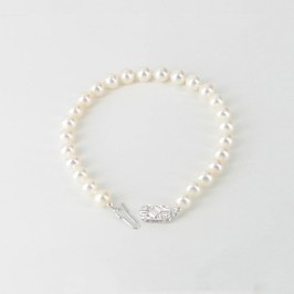 White Freshwater Pearl Bracelet 6.5 With Sterling Silver