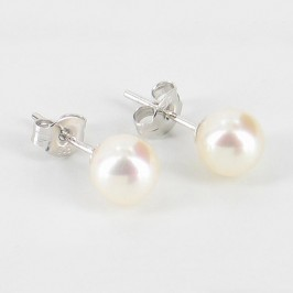 White Pearl Stud Earrings AAA 6.5-7mm On Sterling Silver