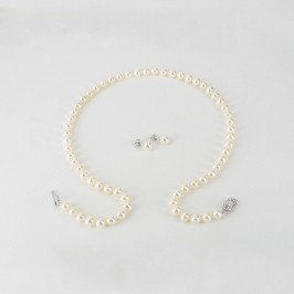 White 6.5-7mm Pearl Necklace & Pearl Earrings Gift Set With Sterling Silver