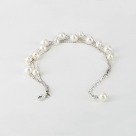 Four Strand Adjustable Pearl Chain Bracelet 6-8mm On Sterling Silver