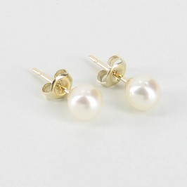 Classic Freshwater Pearl Studs Earrings On 9K Yellow Gold