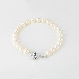 White Freshwater Pearl Bracelet 7.5-8mm With Sterling Silver