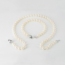 White Freshwater Pearl Necklace Set With Sterling Silver