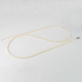 Opera 90cm Long White Pearl Necklace 5.5-6mm With Sterling Silver