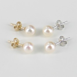 White Pearl Earrings AAA 6-6.5mm Pearls On 9K White Or Yellow Gold