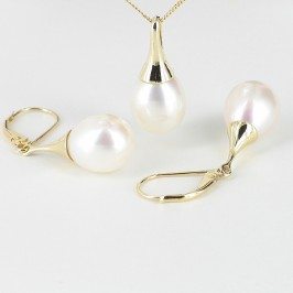Large Pearl Pendant & Earrings Set 9.5-10mm 9K Yellow Gold