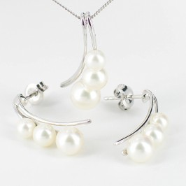 Triple Pearl Pendant & Earrings Set 4-7.5mm 9K White Gold