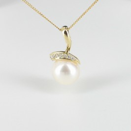 White Freshwater Pearl and Diamond Pendant Necklace On 9K Yellow Gold