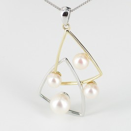 Pearl Pendant 'Triangle' Necklace on 9K Yellow and White Golds