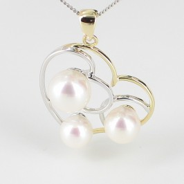 Freshwater Pearl 'Heart' Pendant Necklace On 9K Yellow & White Golds