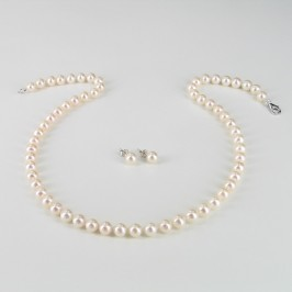 Classic Princess White Pearl Necklace Set 6.5-7mm With 14K White Gold