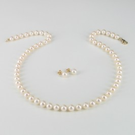 Pearl Necklace & Pearl Earrings Gift Set With 14K Yellow Gold