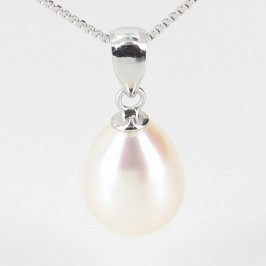 White Pearl Drop Pendant Necklace On Sterling Silver
