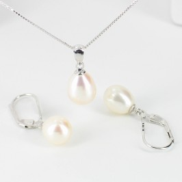 White Pearl Pendant & Earrings Set Drop Sterling Silver
