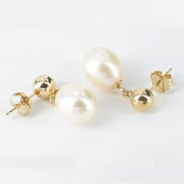 Cream Freshwater Pearl  Earrings 8-8.5mm On 14K Yellow Gold