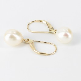 Cream Freshwater 8-8.5mm Pearl Leverback Drop Earrings On 14K Yellow Gold