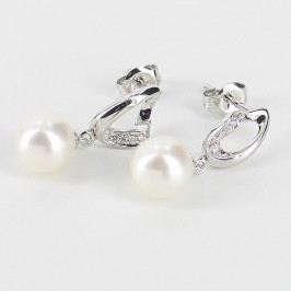 Diamond and Freshwater Pearl Earrings on 9K White Gold