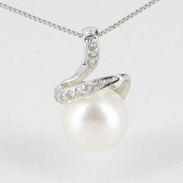 White Pearl & Diamond Pendant Necklace 8-8.5mm With 9K White Gold