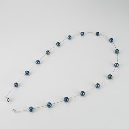 Freshwater Black Illusion Pearl Necklace With 14K White Gold Clasp