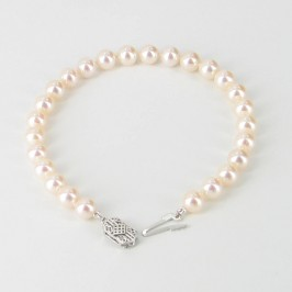 Classic Freshwater Pearl Bracelet 6.5-7mm With 14K White Gold