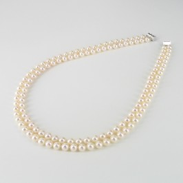 Freshwater Double Strand Pearl Necklace 6.5-7mm With 14K White Gold