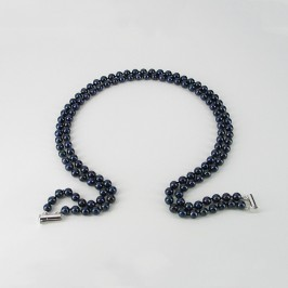 Double Strand Black Pearl Necklace And Sterling Silver Magnetic Clasp