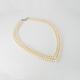 Cream Triple V Strand Pearl Necklace 5.5-6.5mm With 14K White Gold