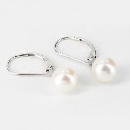 White Freshwater Pearl Drop Earrings 7.5-8mm On 9K White Gold