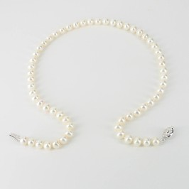 Anniversary Pearl Necklace 7-7.5mm With 9K White Gold