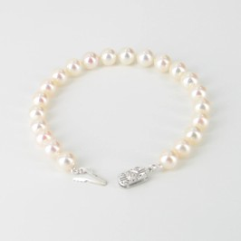 The Director Round Pearl Bracelet AAA 7.5-8mm With 14K White Gold