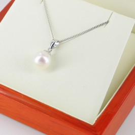 White AAA Pearl Pendant Necklace 7.5-8mm On 9K White Gold