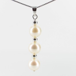 White Freshwater Triple Pearl Pendant Necklace On Sterling Silver