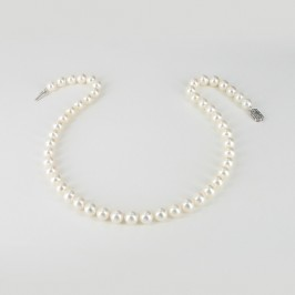 The Boss Round Pearl Necklace AAA 8-8.5mm With 14K White Gold