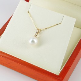 Akoya Pearl Pendant Necklace AAA 8-8.5mm With 9K Yellow Gold