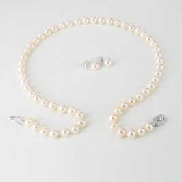 The Executive Pearl Necklace & Earrings Set With 14K White Gold