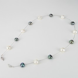 Black & White Illusion Pearl Baroque Necklace With 14K White Gold Clasp