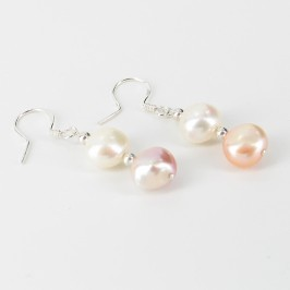 Multicolour Baroque Pearl Hook Earrings 9-10mm On Sterling Silver
