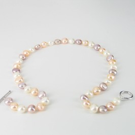 Multicolour Baroque Pearl Necklace 9-10mm With Sterling Silver
