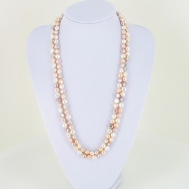 Mini Shanghai Style 135cm Baroque Pearl Necklace 8-9mm With Sterling Silver