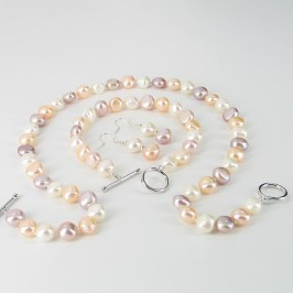 Multicolour Baroque Pearl Necklace Set With Sterling  Silver