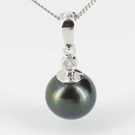 Classic Black Pearl & Diamond Pendant 8.5-9mm 9K White Gold