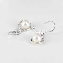 White Pearl & Diamond Drop Earrings Round 18K White Gold