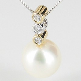 Pearl & Diamond Pendant Necklace 8.5-9mm 9K White & Yellow Gold